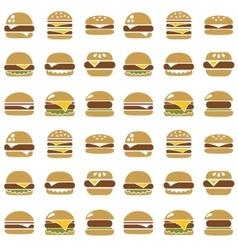 hamburger seamless pattern vector image vector image