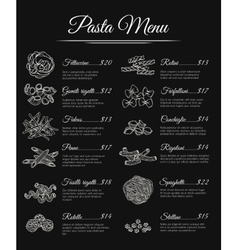 Hand drawn pasta menu vector image