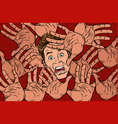 Horror fear background hands and frightened face vector