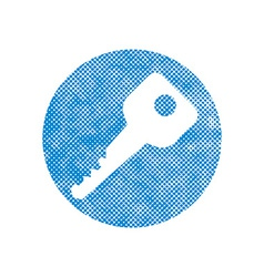 Key icon with pixel print halftone dots texture vector