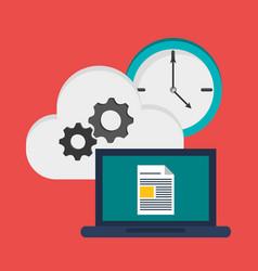 Laptop document cloud gear clock vector