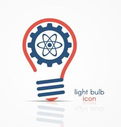 Light bulb idea icon with gear and atom model vector