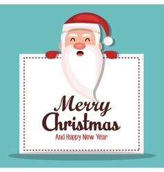 merry christmas face santa claus design vector image