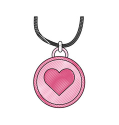 Necklace with heart icon vector