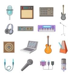 Recording studio icons set cartoon style vector
