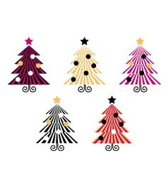 retro christmas trees vector image vector image