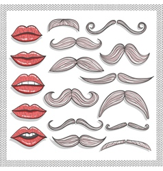 Retro lips and mustaches elements set vector image vector image