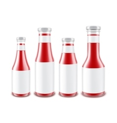 Set of glass red tomato bottles with labels vector