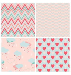 Set of seamless love patterns vector image vector image