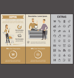 shopping infographic template elements and icons vector image vector image