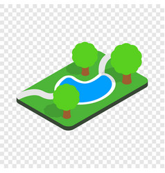 Small pond in the park isometric icon vector