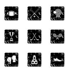 Sports accessories icons set grunge style vector