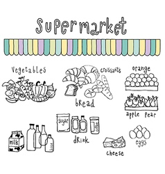 Supermarket doodle white vector
