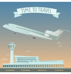 Travel banner travel by airplane time to travel vector