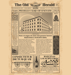 Vintage newspaper template with newsprint vector
