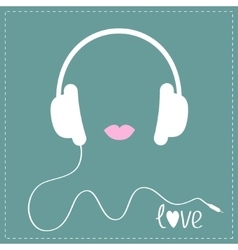 White headphones with cord pink lips love music vector