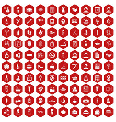 100 beauty salon icons hexagon red vector