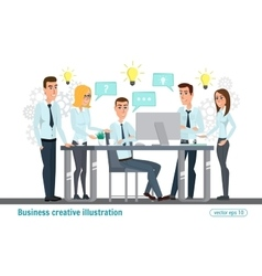 Business professional work team meeting office vector