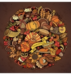 Cartoon doodle thanksgiving day circle vector