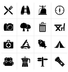 Black camping tourism and travel icons vector