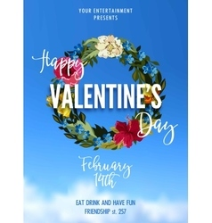 Valentines day party lettering greeting card or vector