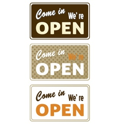 Set of retro open signs isolated on white vector