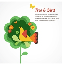 Whimsy flower tree and bird vector