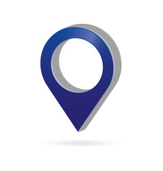 3d metal blue map pointer icon marker gps vector image
