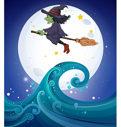 A witch above the giant waves vector