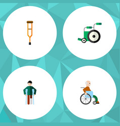 Flat icon cripple set of handicapped man injured vector