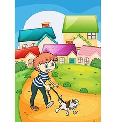 A boy strolling with his pet vector image