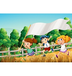 Kids at the woods with an empty banner vector