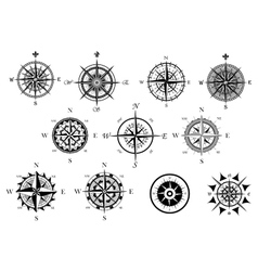 Nautical wind rose and compass icons set vector
