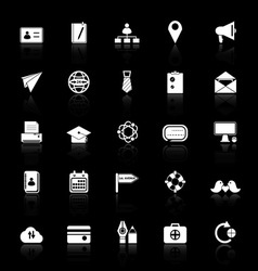 Contact connection icons with reflect on black vector