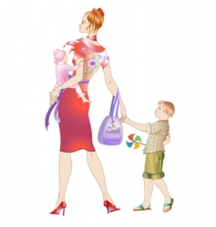 walking her children's vector image