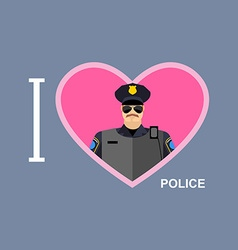I love police policeman and a symbol of heart vector