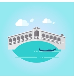 Venice bridge and boat in flat style vector
