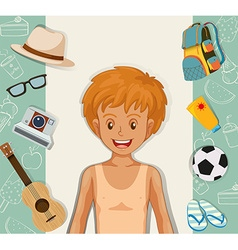 Hipster boy with other accessories vector