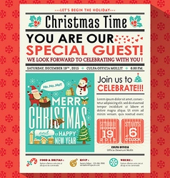 Christmas party poster invite in newspaper style vector