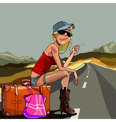 Cartoon woman sitting on a suitcase vector