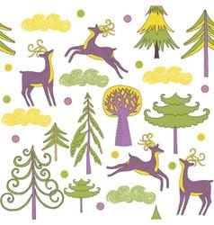 Deer forest wallpaper vector