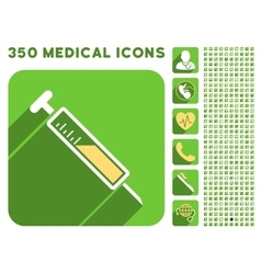 Injection icon and medical longshadow icon set vector