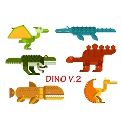 Ancient dinosaurs and reptiles flat icons vector