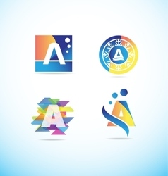 Colored letter a logo icon set vector
