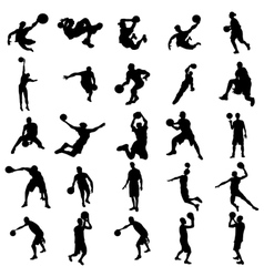 Basketball silhouette set vector