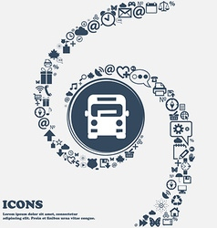 Bus icon in the center around the many beautiful vector