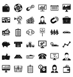 Business group icons set simple style vector