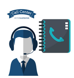 Call center man assistance directory contact vector
