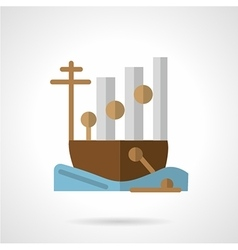Cargo ship flat color icon vector image