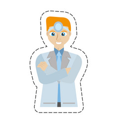 cartoon blond doctor man user head mirror vector image